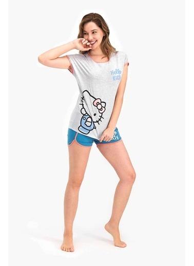 Hello Kitty Hello Kitty Lisanslı Bejmelanj Kadın Şort Takım Gri